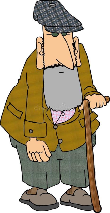 Oude mens met een riet 2 royalty-vrije illustratie