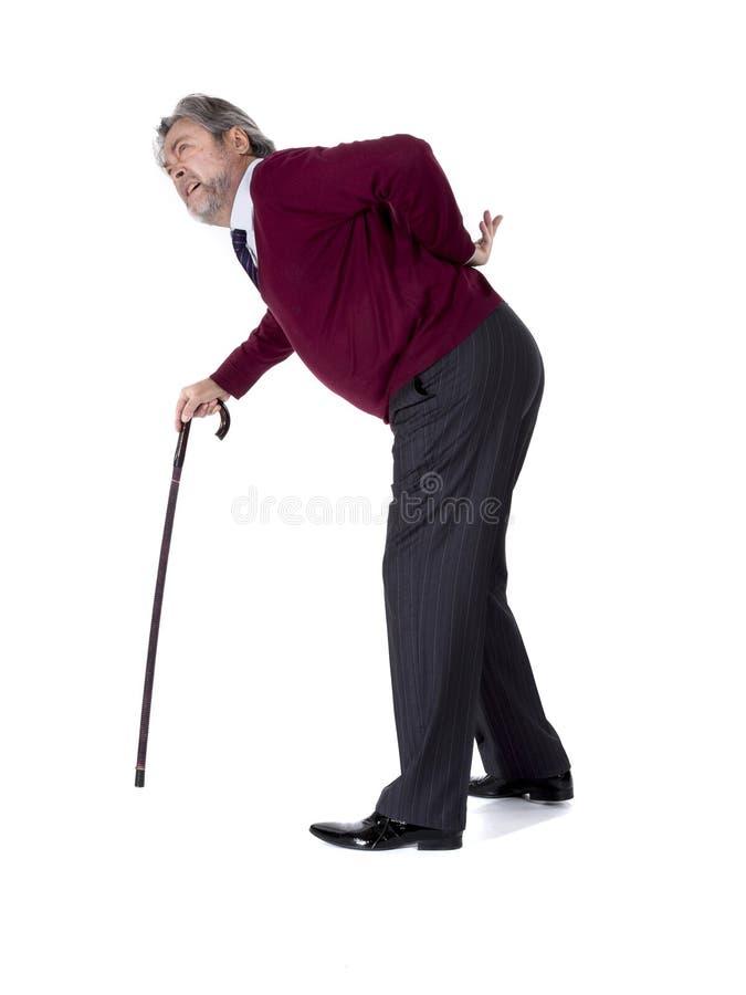 Oude mens met een riet royalty-vrije stock foto