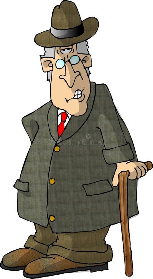 Oude mens met een riet stock illustratie
