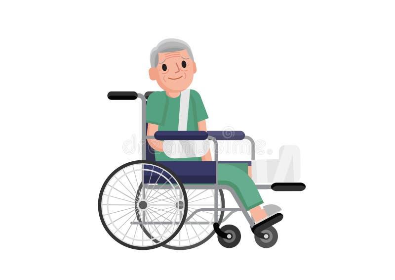 Oude mens met gebroken beenzitting in de rolstoel grootvader in een rolstoel met gebroken been Vlakke ontwerpillustratie stock illustratie