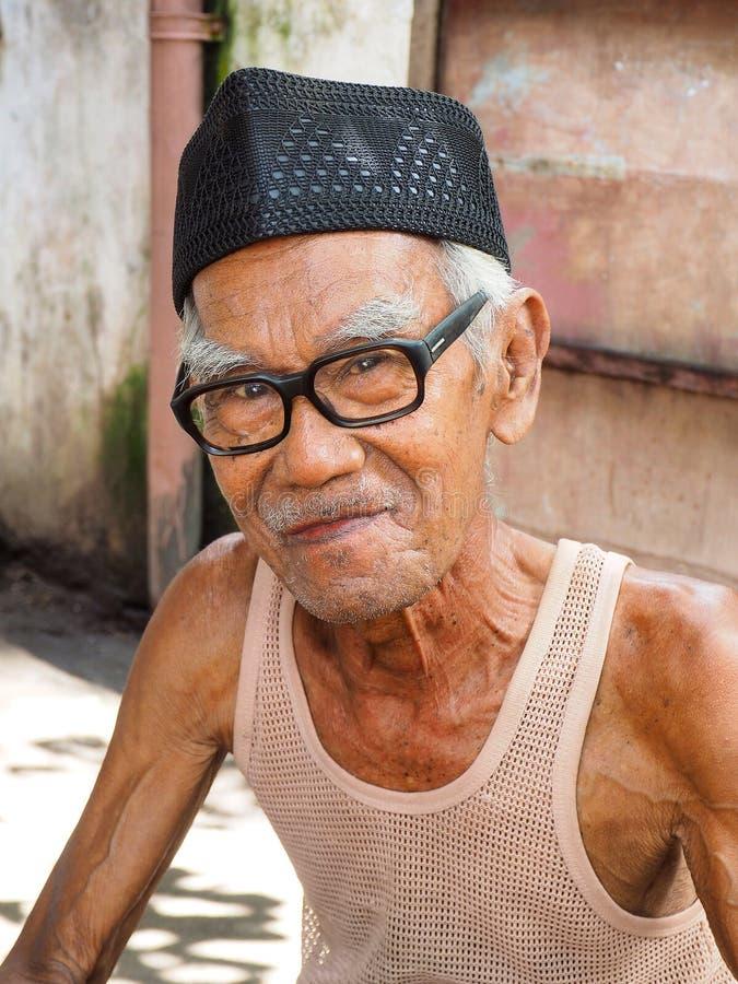 Oude mens in Moni Flores Indonesia royalty-vrije stock foto