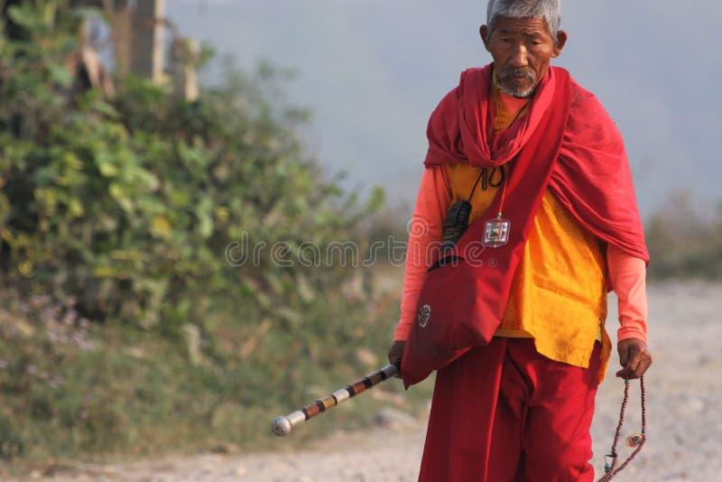 Oude mens in Nepal royalty-vrije stock afbeeldingen