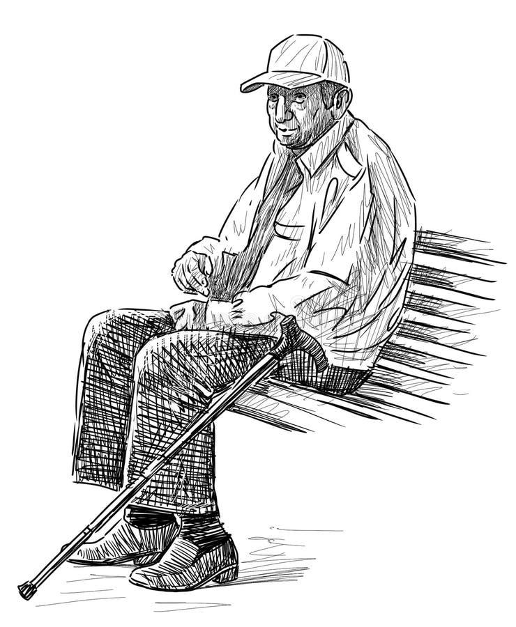 Oude mens op de parkbank vector illustratie
