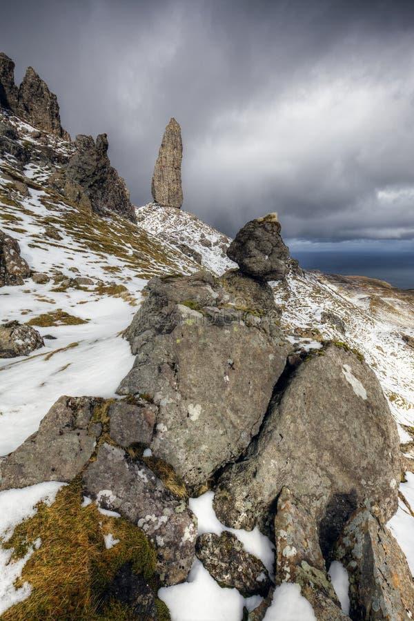 Oude Mens van Storr, Eiland van Skye Scotland stock foto