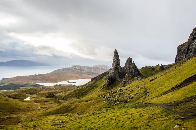 Oude Mens van Storr in Schotland, eiland van Skye stock fotografie