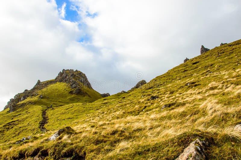 Oude Mens van Storr in Schotland, eiland van Skye stock afbeelding