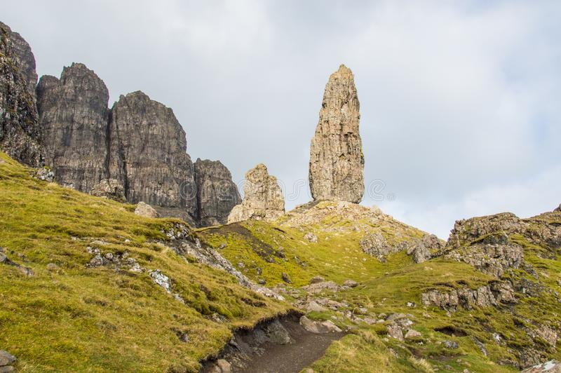Oude Mens van Storr in Schotland, eiland van Skye royalty-vrije stock foto's