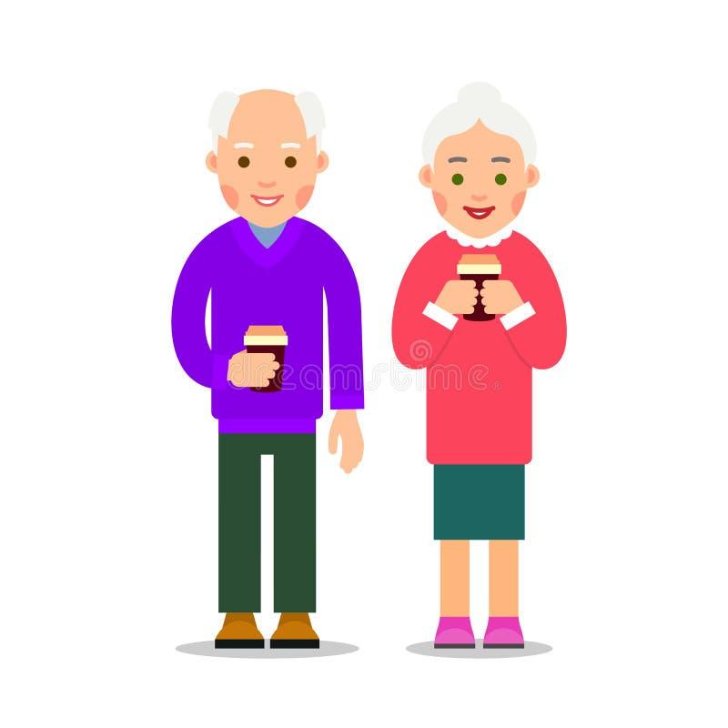 Oude mensen die koffie drinken Bejaarde personen, man en vrouwentribune vector illustratie