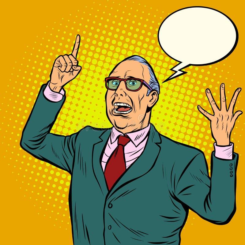 Oude mensen emotionele spreker vector illustratie