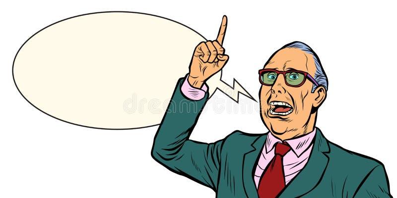 Oude mensen emotionele spreker Isoleer op witte achtergrond stock illustratie