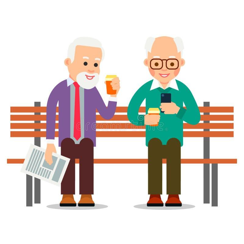 Oude mensen op telefoons Gelukkige bejaarde mensen bij vrije tijd Concept mededeling die digitale technologie gebruiken Bejaardez royalty-vrije illustratie