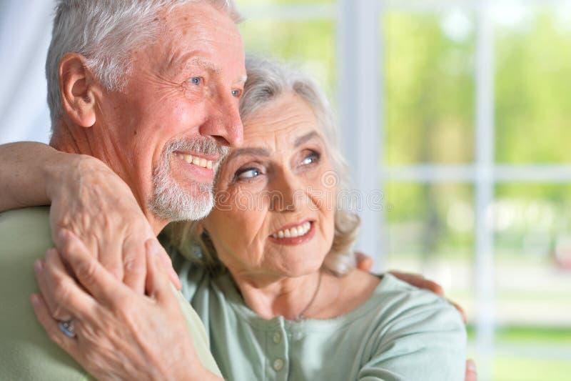 Oude mensen thuis stock afbeelding