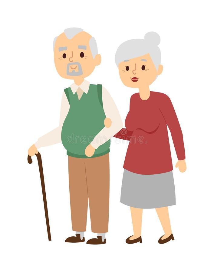 Oude mensen vectorillustratie royalty-vrije illustratie