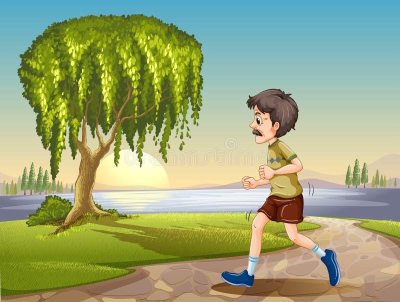 Oude mensenjogging in het park stock illustratie