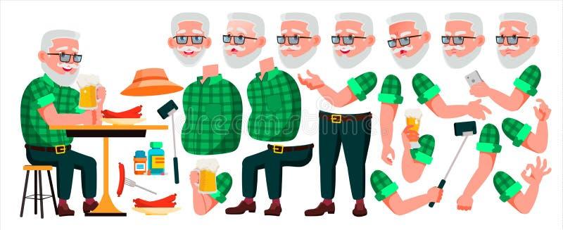 Oude mensenvector Hoger Person Portrait Bejaarde mensen oud De Reeks van de animatieverwezenlijking Gezichtsemoties, Gebaren Mooi stock illustratie