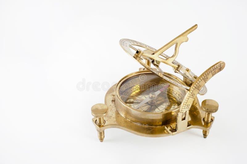 Oude messingssextant. Meetinstrument voor navigatie. stock foto
