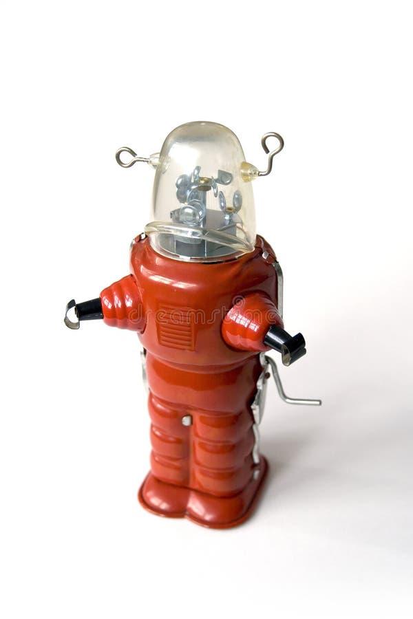 Oude metaalrobot - Uitstekend stuk speelgoed stock foto