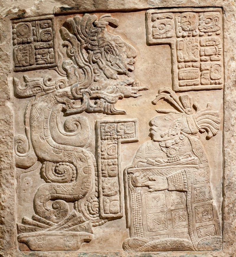 Oude Mexicaanse hulp die in steen wordt gesneden royalty-vrije stock foto