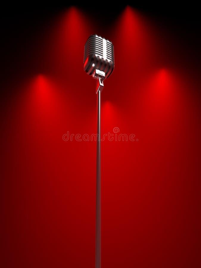 Oude microfoon stock illustratie
