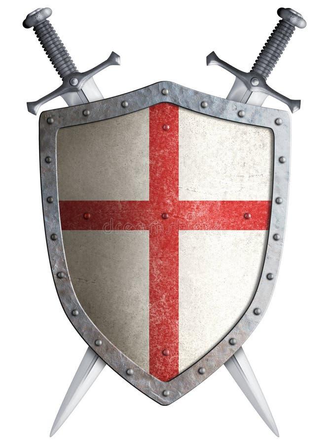 Oude middeleeuwse gekruist kruisvaarderschild en twee royalty-vrije illustratie