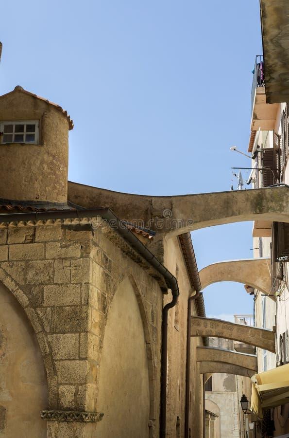 Oude middeleeuwse stad van Bonifacio, het Zuidelijke Eiland van Corsica, Frankrijk stock afbeelding