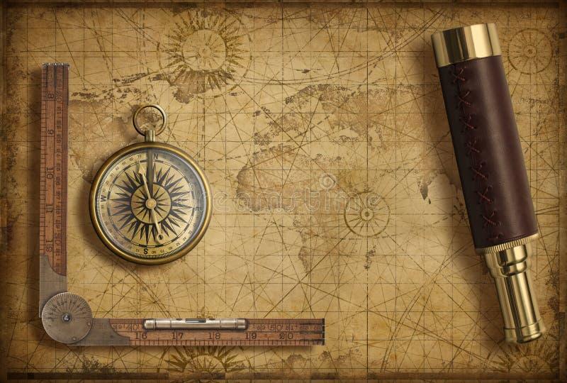 Oude middeleeuwse wereldkaart met kompas en kijker Avontuur en reisconcept 3D Illustratie stock foto's