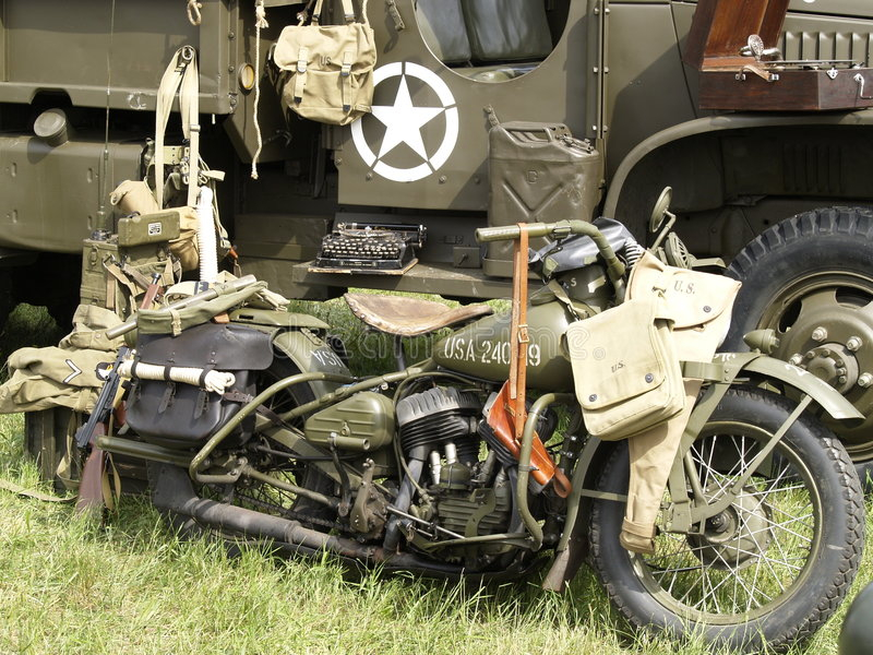oude militaire motorfiets stock foto