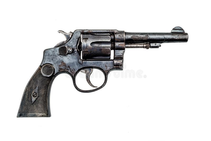 Oude militaire politie roestige revolver stock afbeelding