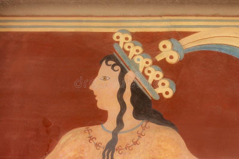 Oude minoan fresko van Knossos, Kreta royalty-vrije stock foto