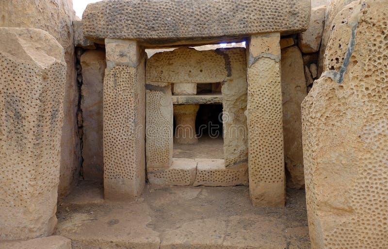 Oude Mnajda Megalithische Temples Malta royalty-vrije stock fotografie