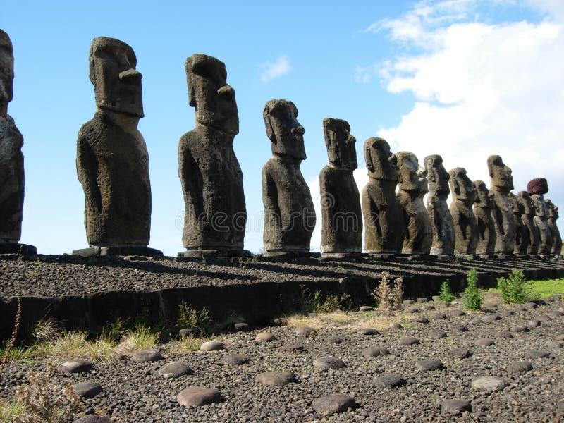 Oude Moai-standbeelden, Pasen-Eiland royalty-vrije stock foto