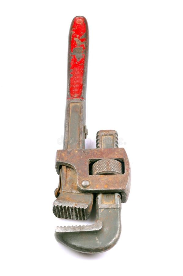 Oude moersleutel stock afbeelding