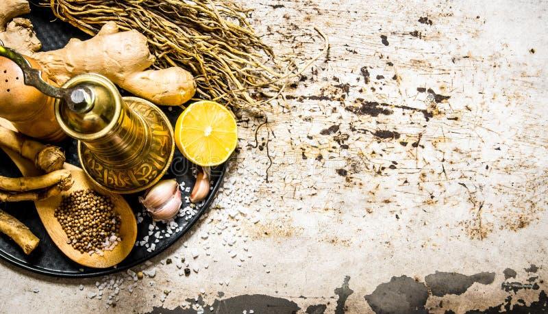 Oude molen met kruiden en kruiden op het dienblad stock afbeeldingen