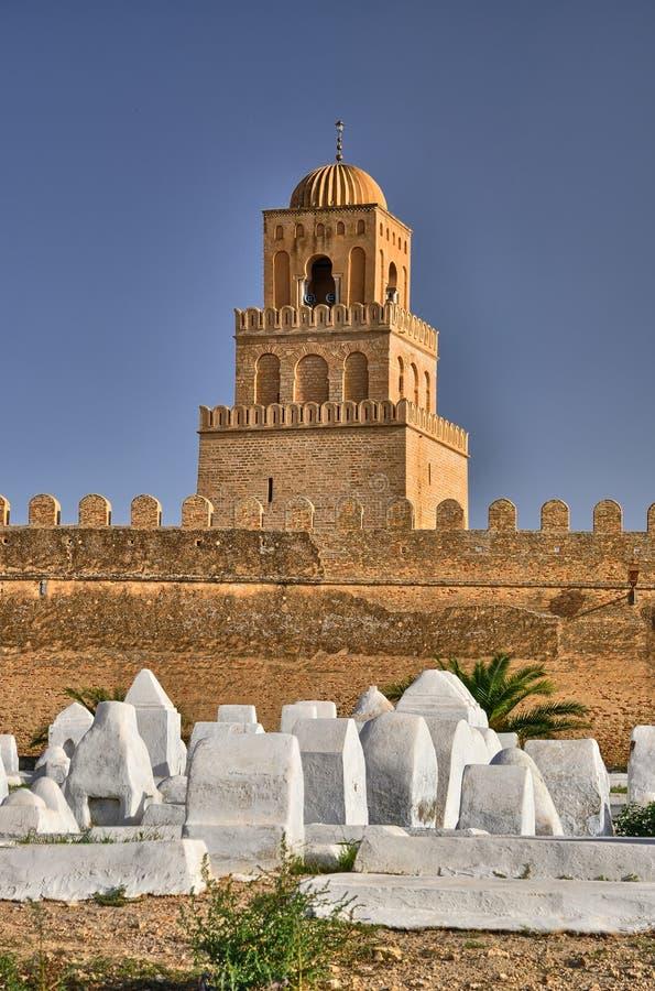 Oude moslimbegraafplaats, Grote Moskee, Kairouan, Sahara Desert, royalty-vrije stock foto