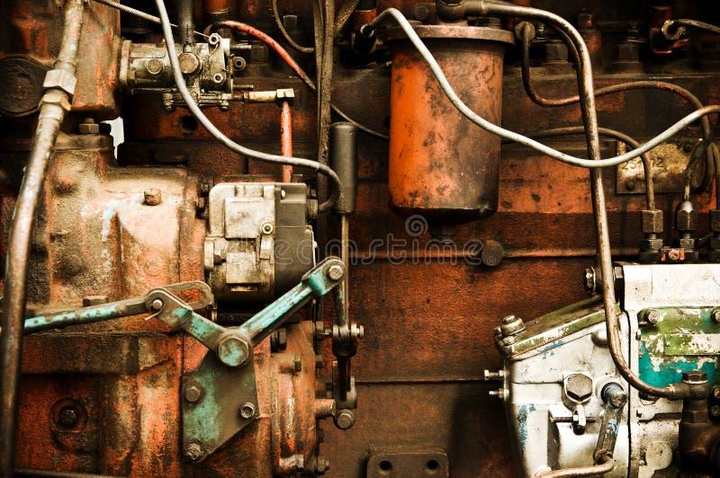 Oude motor van een auto. stock fotografie