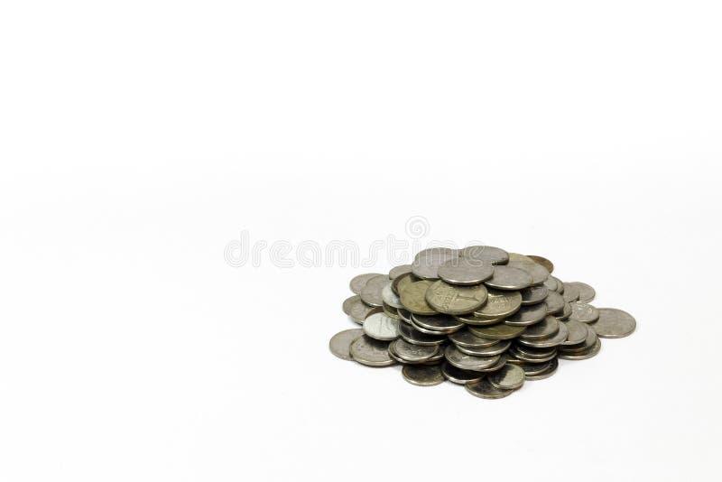 Oude muntstukken, muntstuk, witte Braziliaanse achtergrond, royalty-vrije stock afbeeldingen