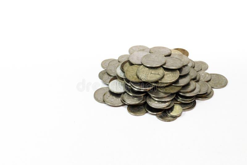 Oude muntstukken, muntstuk, witte Braziliaanse achtergrond, stock foto