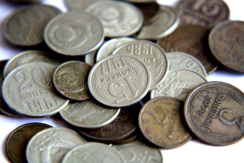 Oude muntstukken van de USSR stock foto's