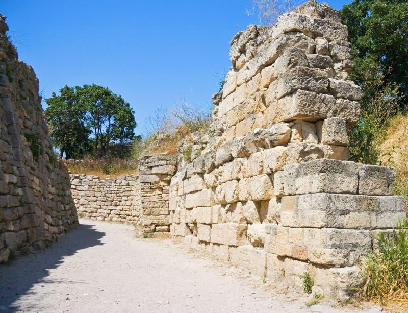 Oude muren van legendarische Troy stad stock fotografie