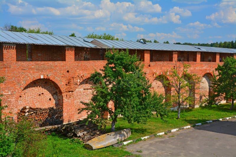 Oude muren van Zaraysk het Kremlin royalty-vrije stock afbeelding