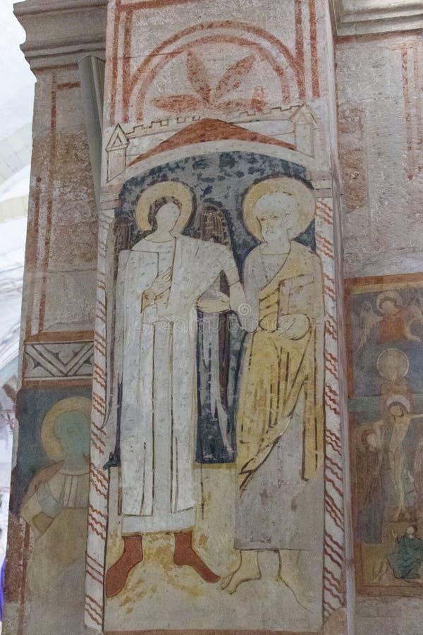 Oude muurfresko binnen de lagere kerk San Fermo Maggiore in Verona, Veneto, Italië stock afbeeldingen