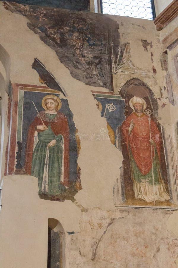 Oude muurfresko's door de meester van de Verlosser, 14de eeuw, in de hogere kerk San Fermo Maggiore in Verona, Veneto, Italië royalty-vrije stock afbeelding