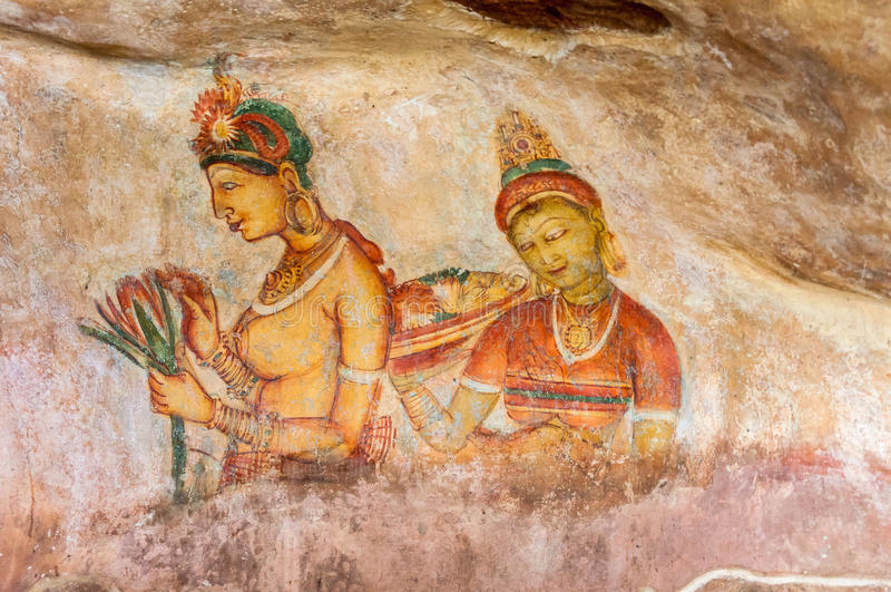 Oude muurschilderijen in Sigirya stock fotografie