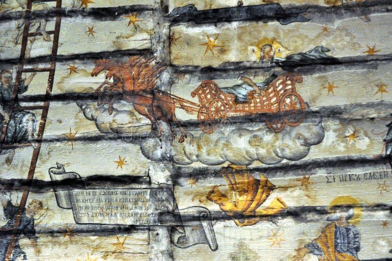 Oude Muurschilderingfresko in Roemenië stock fotografie