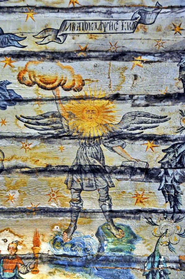 Oude Muurschilderingfresko in Roemenië royalty-vrije stock foto