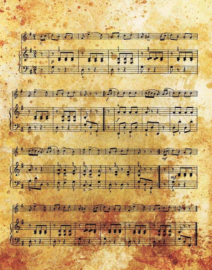 Oude muzieknota en uitstekend effect, muzikale achtergrond stock afbeelding