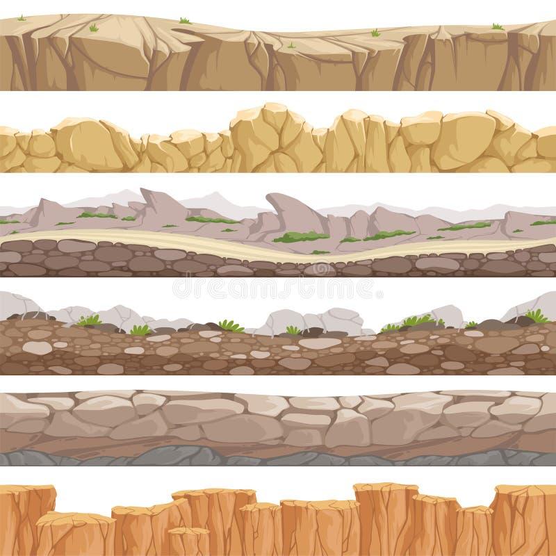 Oude naadloze rotsweg Eindeloze fantastische de types van rockiegrond diverse vectorachtergronden van het spelenlandschap vector illustratie