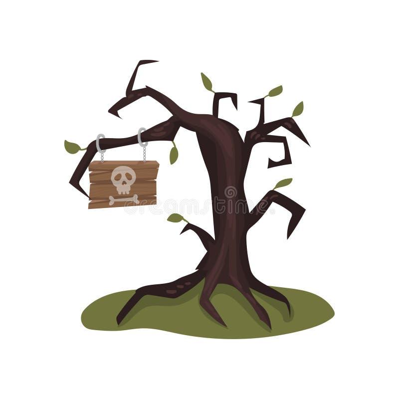 Oude naakte boom met houten teken op tak Uithangbord met schedel en been Landschapselement Vlakke vector voor computer of vector illustratie