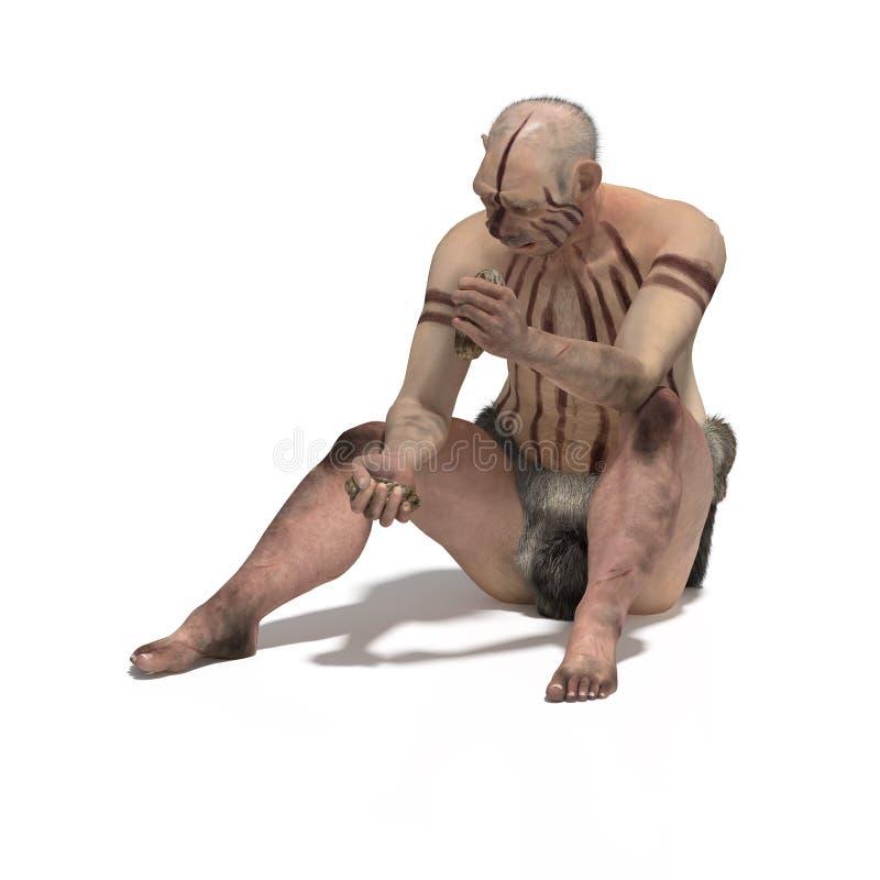 Oude neandertal vector illustratie
