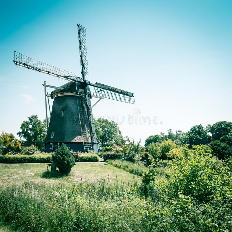 Oude Nederlandse windmolen, Amsterdam DE Riekermolen, Amstelpark, Amstel-Rivier stock fotografie